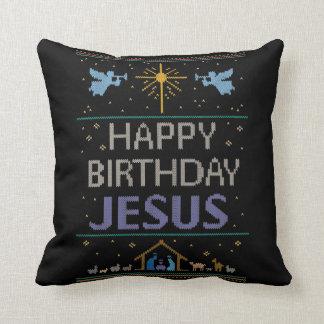Almofada Camisola do Natal de Jesus do feliz aniversario