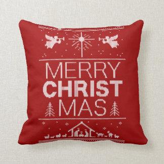 Almofada Camisola feia alegre vermelha do Natal do