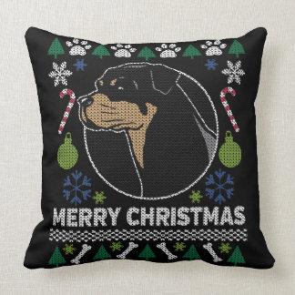 Almofada Camisola feia do Feliz Natal de Rottweiler Rottie