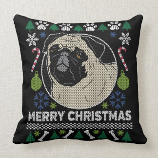 Almofada Camisola feia do Feliz Natal do Pug