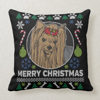Almofada Camisola feia do Feliz Natal do yorkshire terrier