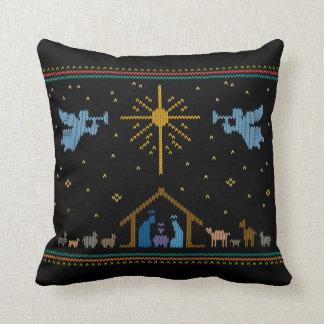 Almofada Camisola feia feita malha do Natal da natividade