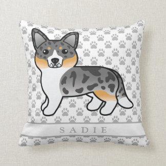 Almofada Cão azul do Corgi de Galês do casaco de lã de