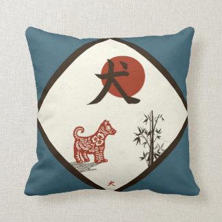 Almofada Cão do Kanji no azul