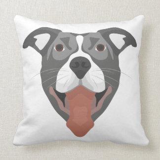 Almofada Cão Pitbull de sorriso da ilustração