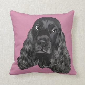 Almofada Cão preto bonito de cocker spaniel