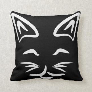 Almofada Cara de sorriso preto e branco do gato