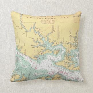 Almofada Carta de Natuical da baía de Chesapeake