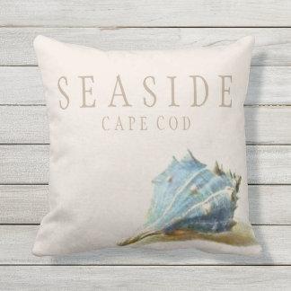Almofada Casa de praia do beira-mar do Seashell do vintage