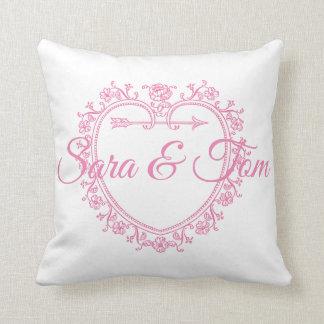 Almofada Casamento do coração/noivado cor-de-rosa