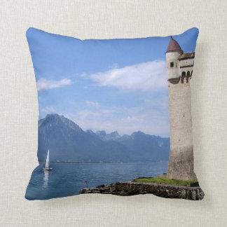 Almofada Castelo bonito Chillon de Genebra do lago