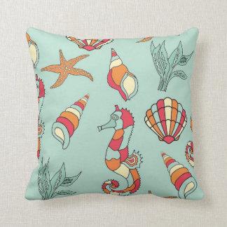 Almofada Cavalo marinho e travesseiro tropicais das