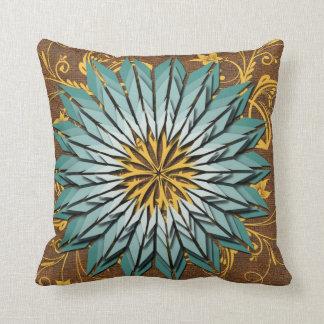 Almofada Cerceta, amarelo, e travesseiro floral abstrato de