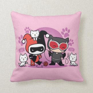 Almofada Chibi Harley Quinn & mulher-gato de Chibi com