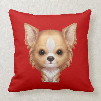 Almofada Chihuahua bege e branca de cabelos compridos