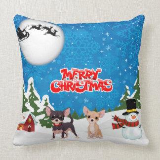 Almofada Chihuahuas do Feliz Natal