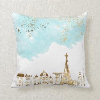 Almofada Cidade do Natal do ouro com nuvens azuis e brilho