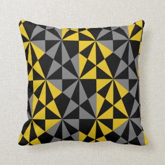 Almofada Cinza Funky retro corajoso geométrico do amarelo