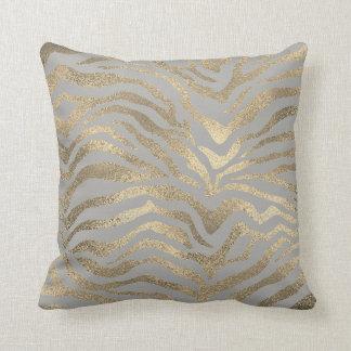 Almofada Cinzas Glam da pele animal da zebra do ouro