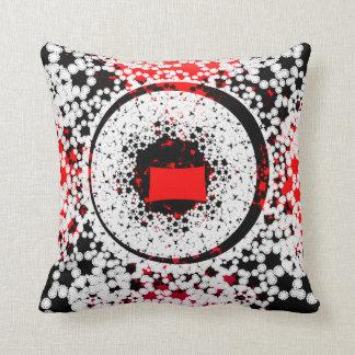 Almofada Círculo vermelho e branco preto
