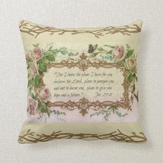 Almofada Citações florais da escritura da oração do vintage