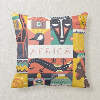 Almofada Colagem simbólica africana da arte