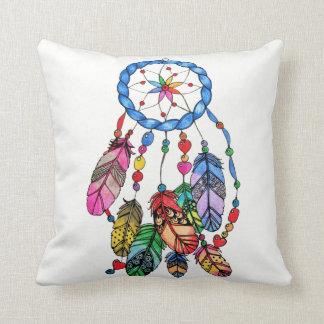 Almofada Coletor do sonho do arco-íris da aguarela &