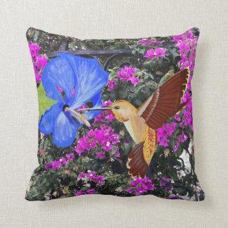 Almofada Colibri, hibiscus azul, & Bougainvillea