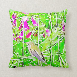 Almofada Colibri verde pequeno e flores roxas