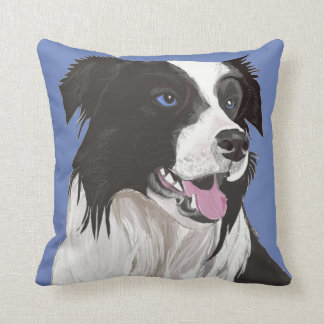 Almofada Collie preto e branco bonito com olhos azuis
