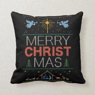 Almofada Colorido religioso da camisola feia do Feliz Natal