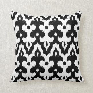 Almofada Cor damasco marroquina do azulejo, preto e branco