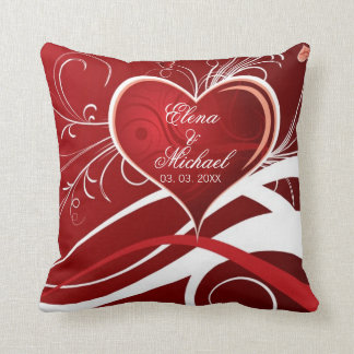 Almofada Coração abstrato feminino vermelho & do branco e