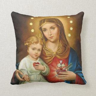 Almofada Coração imaculado Mary com bebê Jesus