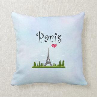 Almofada Coração Paris com torre Eiffel