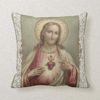 Almofada Coração sagrado de Jesus com beira decorativa