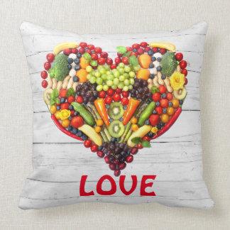 Almofada Coração vegetal da colagem da foto do amor do