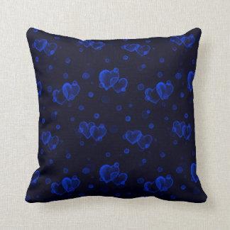 Almofada Corações da bolha. Noite azul