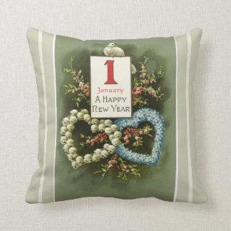Almofada Corações florais do vintage e feliz ano novo da