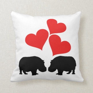 Almofada Corações & hipopótamos