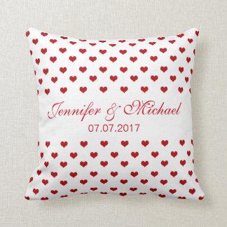 Almofada Corações vermelhos nomes & casamento