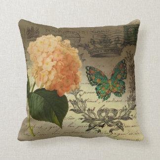 Almofada coroa botânica Paris da borboleta do Hydrangea da