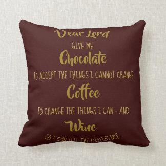 Almofada Costume engraçado do vinho do café do chocolate da