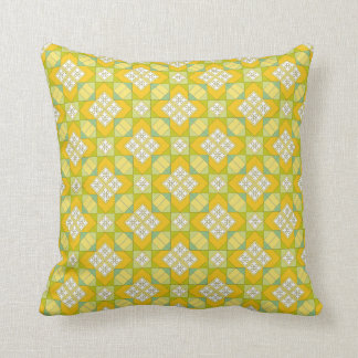 Almofada Coxim amarelo brilhante com teste padrão