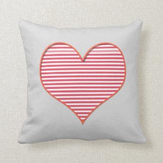 Almofada Coxim cinzento do logotipo do coração