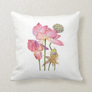 Almofada Coxim cor-de-rosa do Scatter da haste de Lotus com