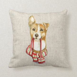 Almofada coxim de linho do travesseiro do olhar do cão de
