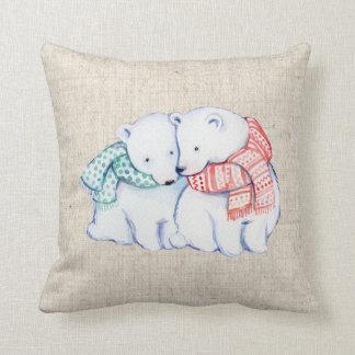 Almofada coxim de linho do travesseiro do olhar dos ursos