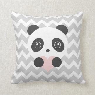 Almofada Coxim do coração da panda de Chevron