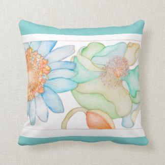 Almofada Coxim floral com parte traseira verde e do azul